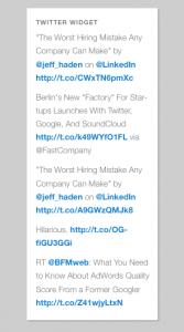 Gabfire Twitter Widget Output